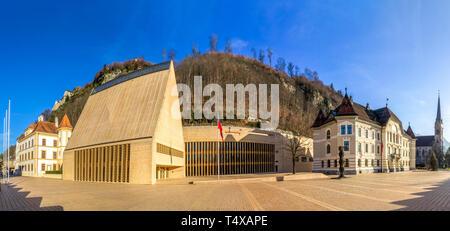 Parliament Building in Vaduz, Liechtenstein - Stock Photo