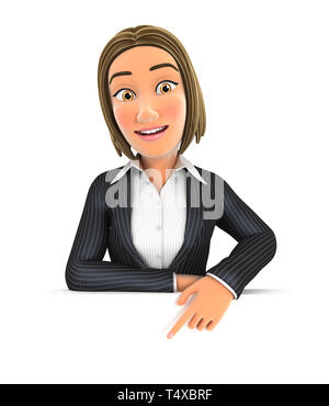 3d business woman pointing to empty wall, illustration with isolated white background - Stock Photo