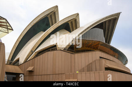Detail of the 'shell' precast concrete architecture of Sydney Opera House, Sydney, New South Wales, Australia. - Stock Photo