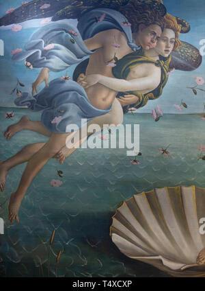 Zephyr and Aura, Birth of Venus, detail, Sandro Botticelli, circa 1485, Galleria degli Uffizi, Uffizi Gallery, Florence, Tuscany, Italy - Stock Photo