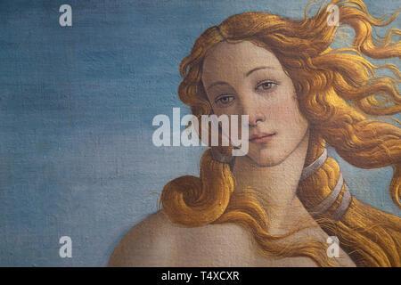 Birth of Venus, detail, Sandro Botticelli, circa 1485, Galleria degli Uffizi, Uffizi Gallery, Florence, Tuscany, Italy - Stock Photo