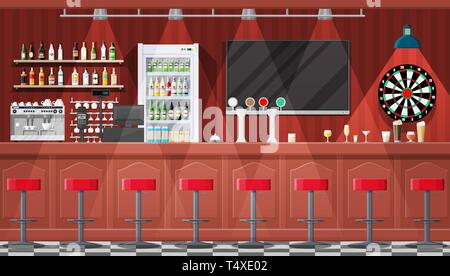 Drinking establishment. Interior of pub, cafe or bar. Bar counter, chairs and shelves with alcohol bottles. Glasses, tv, dart, fridge and lamp. Wooden - Stock Photo