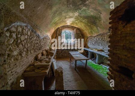 Villa Jovis, Capri, residenza dell'imperatore Tiberio Giulio Cesare Augusto, Roma, scoperta da Amedeo Maiuri - Stock Photo