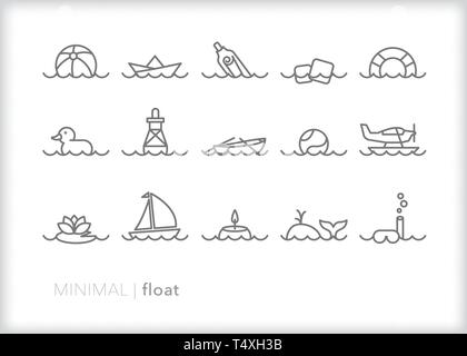 Set of 15 float line icons of items found in a pool, the ocean or other bodies of water - Stock Photo