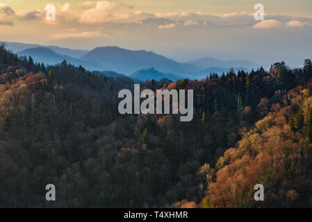 Early morning sunrise from the summit at Newfound Gap in the Great Smoky Mountains National Park in autumn, outside Gatlinburg, TN, USA - Stock Photo