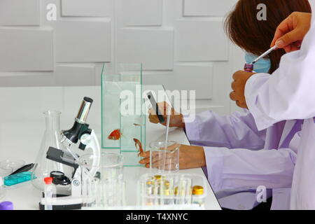 the doctor,reseacher is mixing new drug,product wirh lab equipment in clean room - Stock Photo