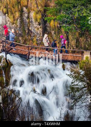 Plitvice lakes in Croatia Plitvicka jezera freshwater waterflow flow flowing water stream streaming - Stock Photo
