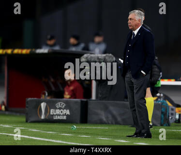 Napoli manager Carlo Ancelotti on the touchline during the UEFA Europa League quarter final second leg match at the San Paolo Stadium, Naples. - Stock Photo