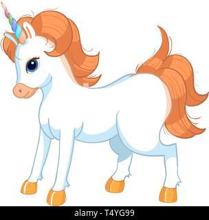 Cute cartoon character unicorn. Print for Baby Shower - Stock Photo