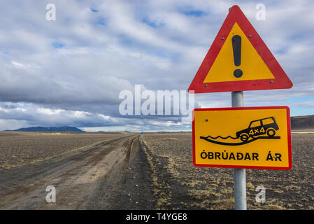 Warning road sign on the road to Hrossaborg crater in northeast part of Iceland - Stock Photo