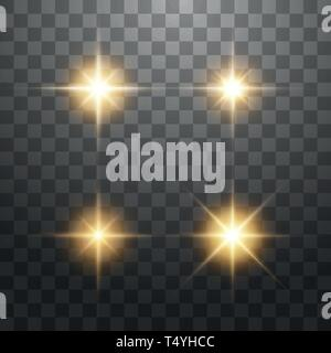 Creative concept Vector set of glow golden light effect stars bursts with sparkles isolated on transparent background - Stock Photo