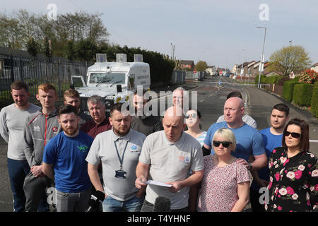 George McGowan speaks on behalf of members of the community at the scene in Londonderry, Northern Ireland, where 29-year-old journalist Lyra McKee was shot and killed when guns were fired and petrol bombs were thrown in what police are treating as a 'terrorist incident'. - Stock Photo
