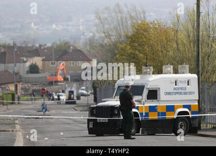 Police at the scene in Londonderry, Northern Ireland, where 29-year-old journalist Lyra McKee was shot and killed when guns were fired and petrol bombs were thrown in what police are treating as a 'terrorist incident'. - Stock Photo