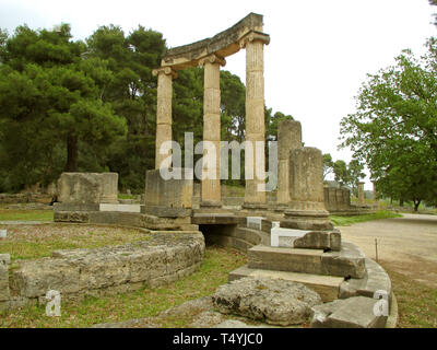 Philippeion Ancient Greek Sanctuary Erected by King Philip II of Macedonia, Archaeological Site of Olympia, Greece - Stock Photo
