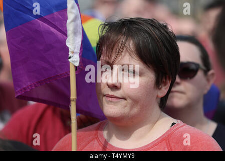 Sara, the partner of 29-year-old journalist Lyra McKee at a rally in Londonderry, Northern Ireland, following her death last night after guns were fired and petrol bombs were thrown in what police are treating as a 'terrorist incident'. - Stock Photo