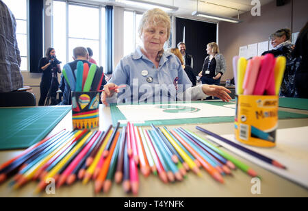 Pearl Cameron, 68, one of the 'Graffiti Grannies' that took part in an over-65s street-art workshop at this year's Nuart Aberdeen Festival. - Stock Photo