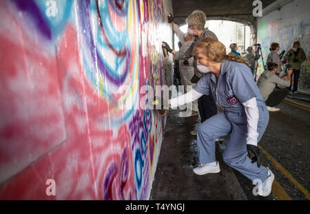 Pearl Cameron, aged 68, one of the 'Graffiti Grannies' that took part in an over-65s street-art workshop at this year's Nuart Aberdeen Festival. - Stock Photo
