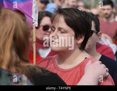 Sara Canning, the partner of 29-year-old journalist Lyra McKee at a rally in Londonderry, Northern Ireland, following her death last night after guns were fired and petrol bombs were thrown in what police are treating as a 'terrorist incident'. - Stock Photo