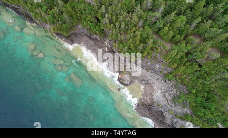 Beautiful Bruce Peninsula Park in Canada drone photography - Stock Photo