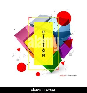 Cube. Design element for business or construction concept. 3d vector illustration. - Stock Photo