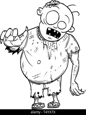 Cartoon drawing conceptual illustration of fat crazy Halloween monster zombie. - Stock Photo