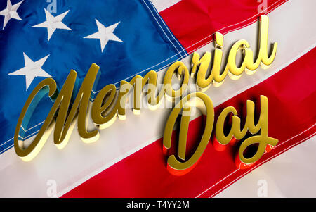 Gold 3D rendering Memorial day Message.Media instead of love country. - Stock Photo