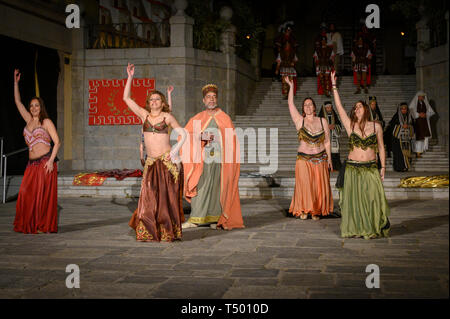 Brunete, Spain - April 11, 2019: Popular play of The Passion of Christ in the Plaza Mayor of the town. - Stock Photo