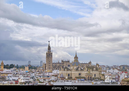 April 2019 - Seville SPAIN - Skyline of the city (capital of Andalusia) from the observation deck (Metropol Parasol) in a cloudy day - Stock Photo