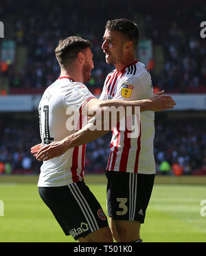 Sheffield United's Enda Stevens (right) celebrates scoring his side's second goal of the game with Scott Hogan during the Sky Bet Championship match at Bramall Lane, Sheffield. - Stock Photo