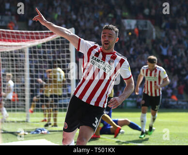 Sheffield United's Enda Stevens celebrates scoring his side's second goal of the game during the Sky Bet Championship match at Bramall Lane, Sheffield. - Stock Photo