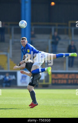 Carlisle United's Nathan Thomas and Lincoln City's Tom Prett compete for a header during the Sky Bet Championship match at Brunton Park, Carlisle. - Stock Photo