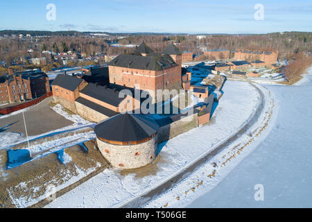 The Hameenlinna Fortress on a sunny March day in close up. Finland - Stock Photo