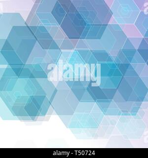 Vector subtle light blue abstract geometric hexagonal background - Stock Photo