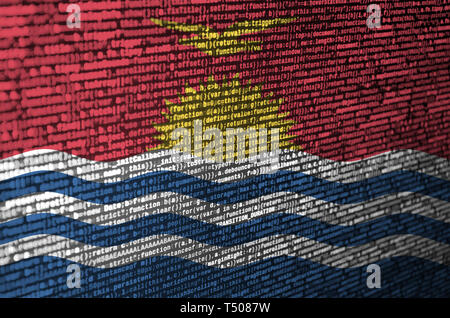 Kiribati flag  is depicted on the screen with the program code. The concept of modern technology and site development. - Stock Photo