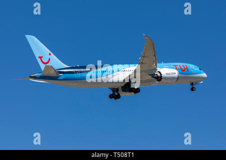 Thomson Airways Boeing 787-8 Dreamliner (G-TUIH) on departure back to Manchester, UK. - Stock Photo