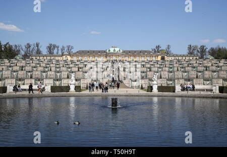 Potsdam. 18th Apr, 2019. Photo taken on April 18, 2019 shows a view of the Sanssouci Palace in Potsdam, Germany. The Sanssouci Palace was built from 1745 to 1747 as the summer palace for Prussian King Frederick II and expanded from 1840 to 1842. The palace was built on terraced vineyards and connected to a Baroque garden below. The Sanssouci Palace and its extensive gardens were selected as a world heritage site by UNESCO in 1990. Credit: Shan Yuqi/Xinhua/Alamy Live News - Stock Photo