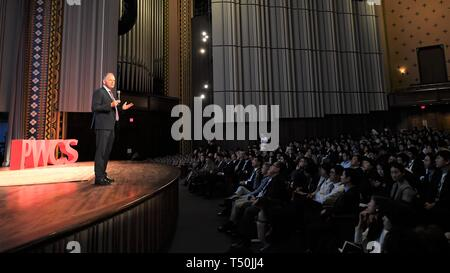 Philadelphia, USA. 19th Apr, 2019. Geoffrey Garrett, dean of the Wharton School at the University of Pennsylvania, speaks at the opening ceremony of the 2019 Penn Wharton China Summit in Philadelphia, the United States, on April 19, 2019. Credit: Yang Chenglin/Xinhua/Alamy Live News - Stock Photo