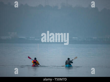 Cobh, Cork, Ireland. 20th April, 2019. Two Canoes set off on a foggy morning from Cobh, for a paddle in up the river in Cork, Ireland. Credit: David Creedon/Alamy Live News - Stock Photo