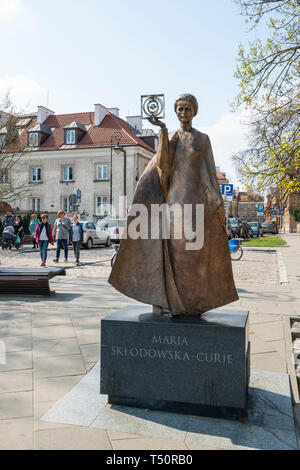 Warsaw, Poland. April, 2018.  A view of the statue of  Marie  Sklodowska Curie in Warsaw - Stock Photo