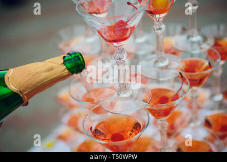 Champagne glass pyramid. Pyramid of glasses of wine, champagne, tower of champagne. - Stock Photo