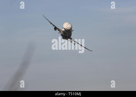 Beluga and Beluga XL taking off from Hawarden Airport credit Ian Fairbrother/Alamy Stock Photos - Stock Photo