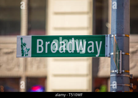New York City green street signs midtown at day - Stock Photo