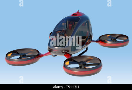 Electric Passenger Drone flying in the sky. This is a 3D model and doesn't exist in real life. 3D illustration - Stock Photo