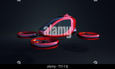 Electric Passenger Drone. This is a 3D model and doesn't exist in real life. 3D illustration - Stock Photo