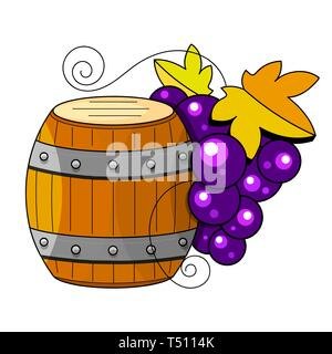 Winemaking products in sketch style. Vector illustration with wine barrel, glass, grapes, grape twig, carafe. Classical alcoholic - Stock Photo