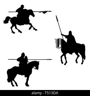 Medieval mounted knights illustration. Knight on horseback. Set of 3 medieval crusaders. Black and white digital drawing. Knights silhouette. - Stock Photo