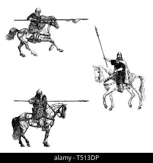 Medieval mounted knights illustration. Knight on horseback. Set of 3 medieval crusaders. Black and white digital drawing. - Stock Photo