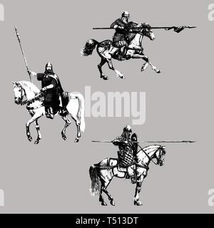 Medieval mounted knights illustration. Knight on horseback. Set of 3 medieval crusaders. Digital drawing. - Stock Photo