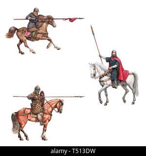 Medieval mounted knights illustration. Knight on horseback. Set of 3 medieval crusaders. - Stock Photo