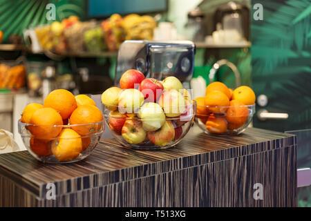Fresh fruit in a juice shop - Stock Photo